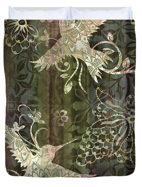 Victorian Hummingbird Green Duvet Cover by JQ Licensing