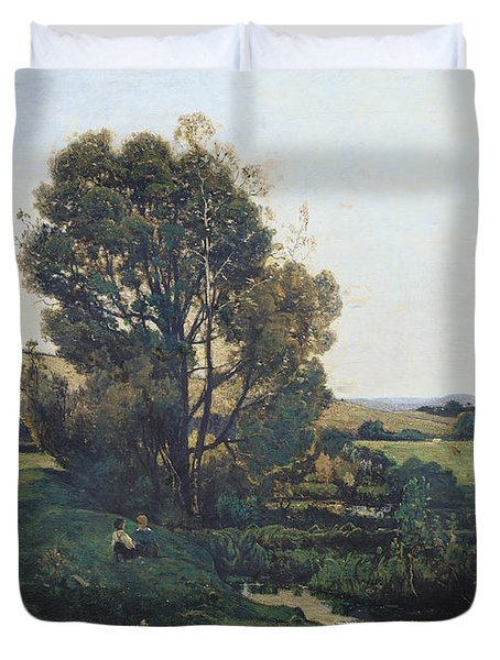 View From Moncel-sur-seine Duvet Cover by Henri-Joseph Harpignies