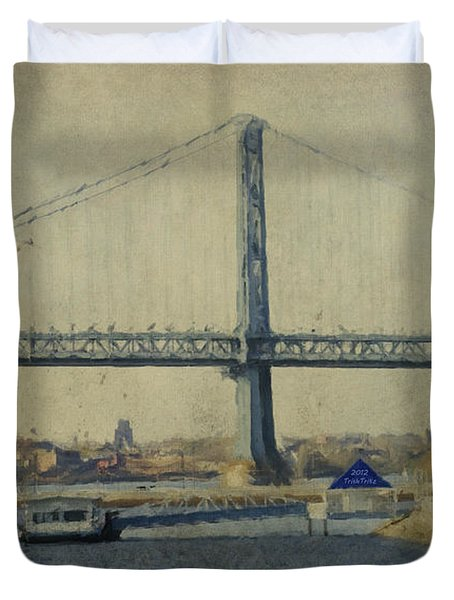 View From The Battleship Duvet Cover by Trish Tritz