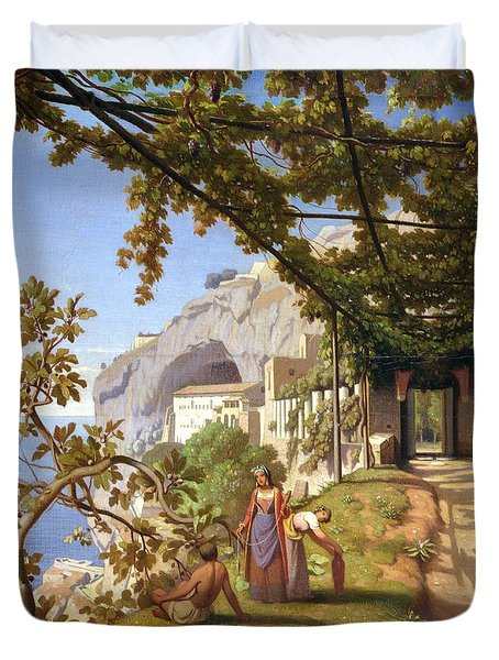 View Of Capri Duvet Cover by Theodore Aligny