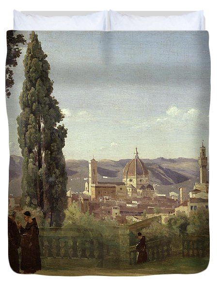 View Of Florence From The Boboli Gardens Duvet Cover by Jean Baptiste Camille Corot