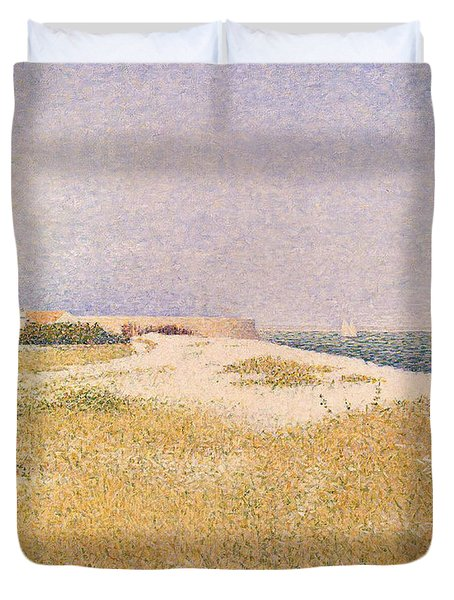 View Of Fort Samson Duvet Cover by Georges Pierre Seurat