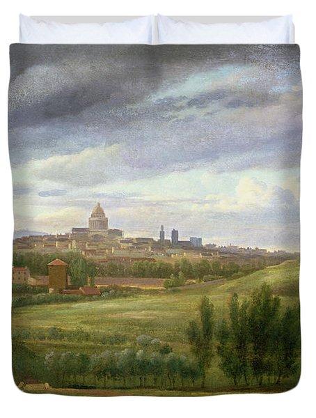 View Of Paris From Butte Aux Cailles Duvet Cover by Jean Baptiste Gabriel Langlace