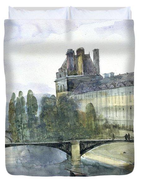 View Of The Pavillon De Flore Of The Louvre Duvet Cover by Francois-Marius Granet