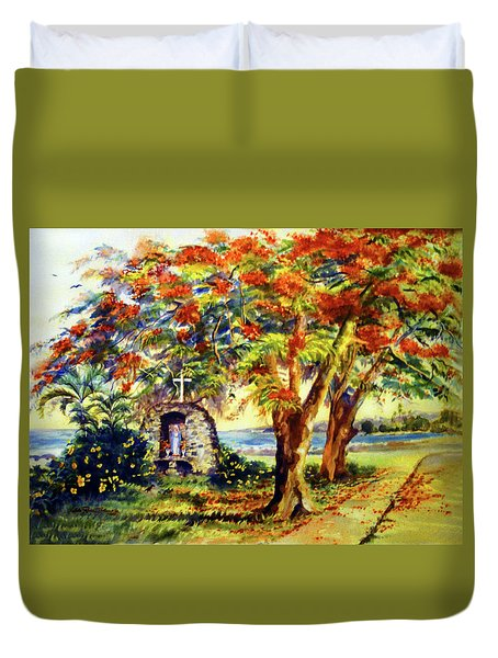 View To Aguadilla Bay Duvet Cover by Estela Robles