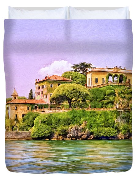 Villa on Lake Como Duvet Cover by Dominic Piperata