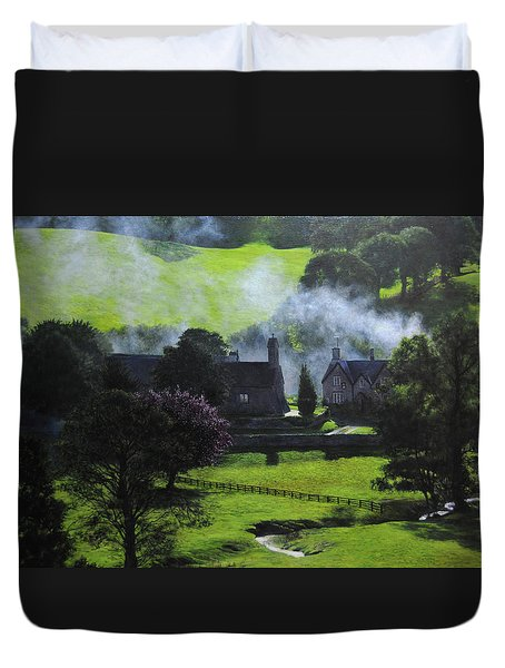 Village in North Wales Duvet Cover by Harry Robertson