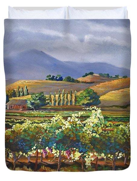 Vineyard In California Duvet Cover by Heather Coen