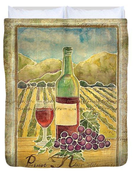 Vineyard Pinot Noir Grapes N Wine - Batik Style Duvet Cover by Audrey Jeanne Roberts