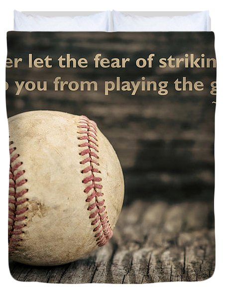 Vintage Baseball Babe Ruth Quote Duvet Cover by Terry DeLuco