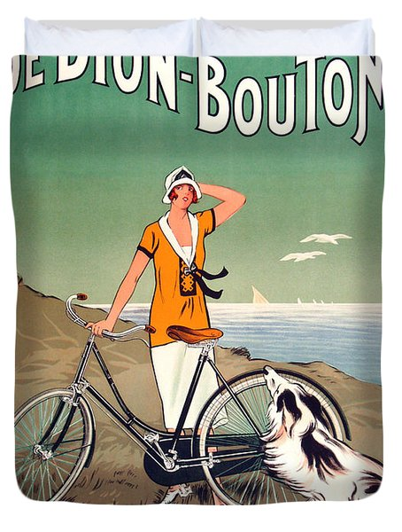 Vintage Bicycle Advertising Duvet Cover by Mindy Sommers