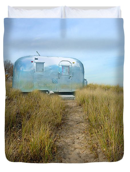 Vintage Camping Trailer Near The Sea Duvet Cover by Jill Battaglia