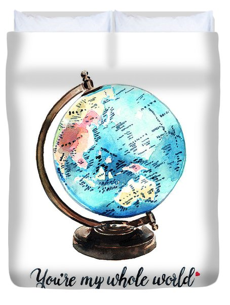 Vintage Globe Love You're My Whole World Duvet Cover by Laura Row
