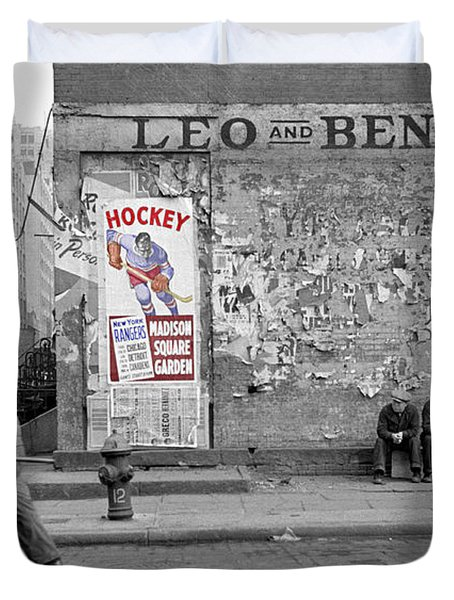 Vintage Hockey Poster Duvet Cover by Andrew Fare