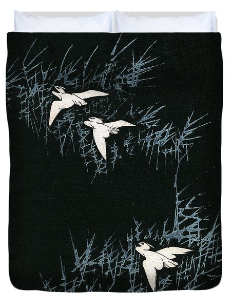 Vintage Japanese Illustration Of Three Cranes Flying In A Night Landscape Duvet Cover by Japanese School