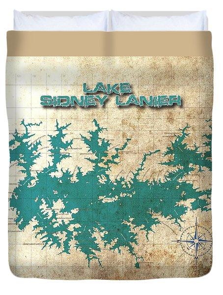 Vintage Map - Sidney Lanier Ga Duvet Cover by Greg Sharpe
