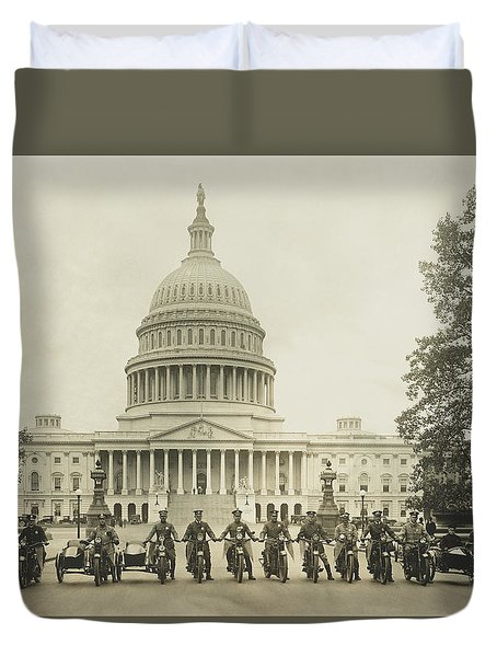 Vintage Motorcycle Police - Washington Dc  Duvet Cover by War Is Hell Store