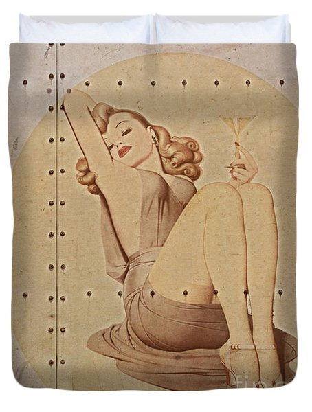 Vintage Nose Art Naughty Nadine Duvet Cover by Cinema Photography