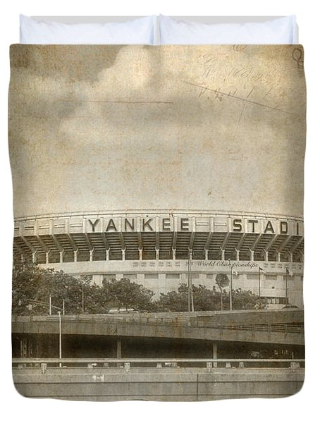 Vintage Old Yankee Stadium Duvet Cover by Joann Vitali