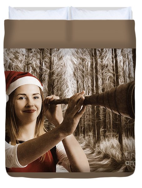 Vintage Santa Elf Searching For Christmas Fun Duvet Cover by Jorgo Photography - Wall Art Gallery