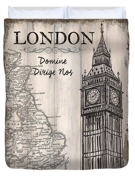Vintage Travel Poster London Duvet Cover by Debbie DeWitt
