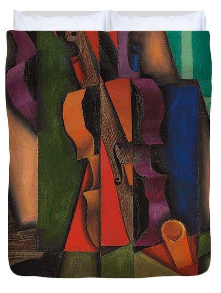 Violin And Guitar Duvet Cover by Juan Gris