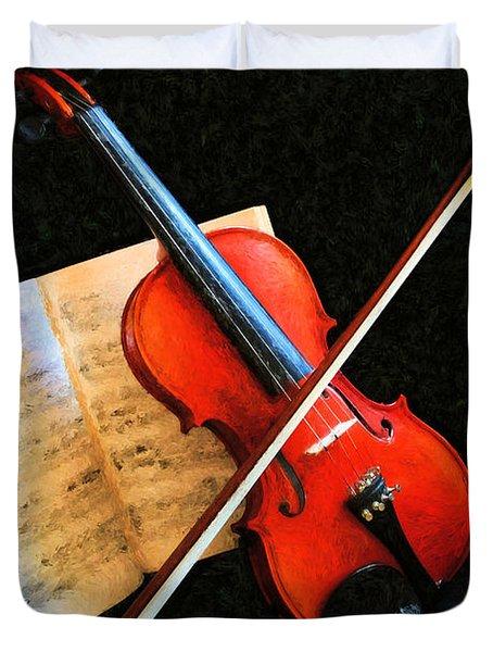 Violin Impression Duvet Cover by Kristin Elmquist
