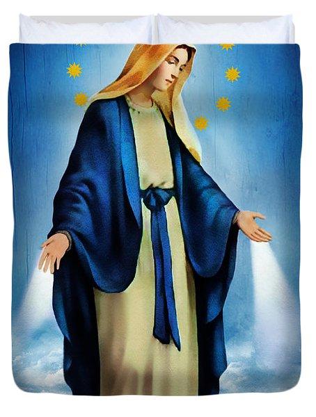 Virgen Milagrosa Duvet Cover by Bibi Romer