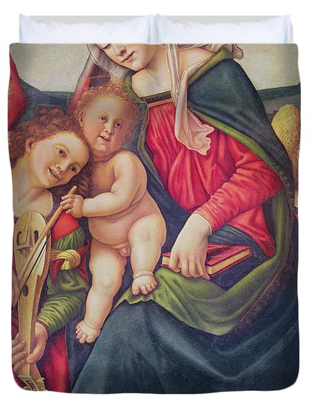 Virgin And Child And Angel Musicians  Duvet Cover by Piero di Cosimo