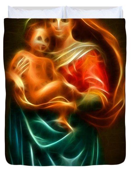 Virgin Mary And Baby Jesus Duvet Cover by Pamela Johnson