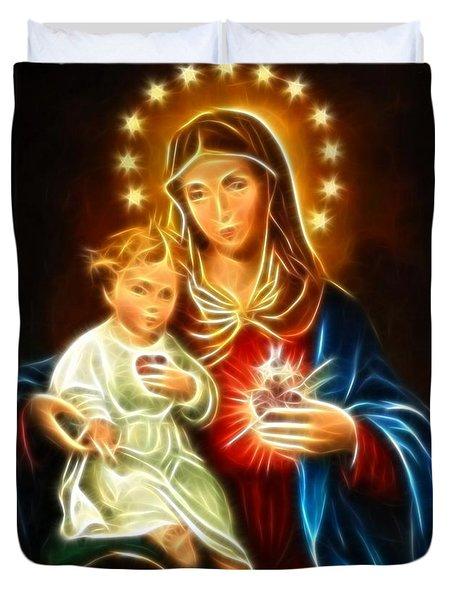 Virgin Mary And Baby Jesus Sacred Heart Duvet Cover by Pamela Johnson