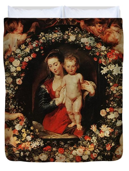 Virgin With A Garland Of Flowers Duvet Cover by Peter Paul Rubens