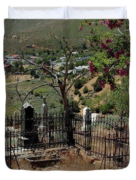 Virginia City Cemetery Broken Gate Duvet Cover by LeeAnn McLaneGoetz McLaneGoetzStudioLLCcom