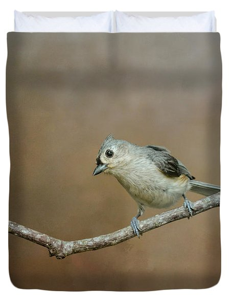 Visiting Tufted Titmouse Duvet Cover by Jai Johnson