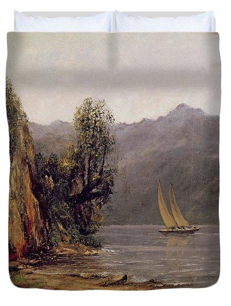 Vue Du Lac Leman Duvet Cover by Gustave Courbet