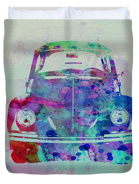 Vw Beetle Watercolor 2 Duvet Cover by Naxart Studio