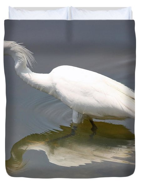 Wading Snowy Egret Duvet Cover by Carol Groenen