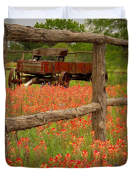 Wagon In Paintbrush - Texas Wildflowers Wagon Fence Landscape Flowers Duvet Cover by Jon Holiday