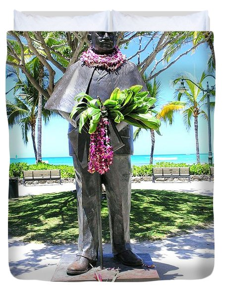 Waikiki Statue - Prince Kuhio Duvet Cover by Mary Deal