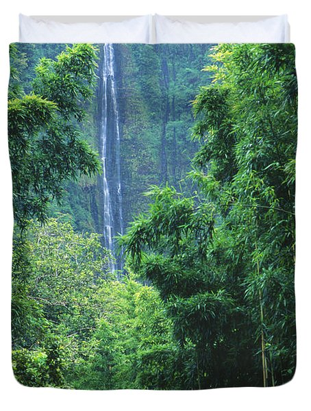 Waimoku Falls Duvet Cover by Dave Fleetham - Printscapes