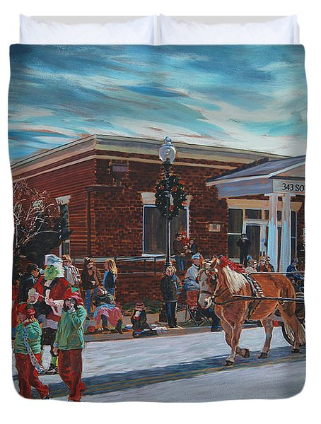 Wake Forest Christmas Parade Duvet Cover by Tommy Midyette