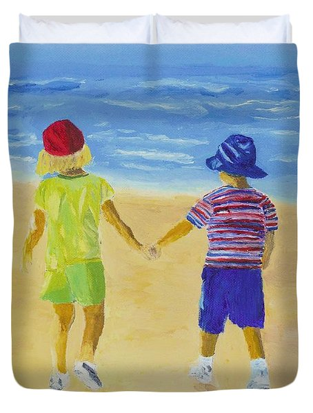 Duvet Cover featuring the painting Walk On The Beach by Rodney Campbell