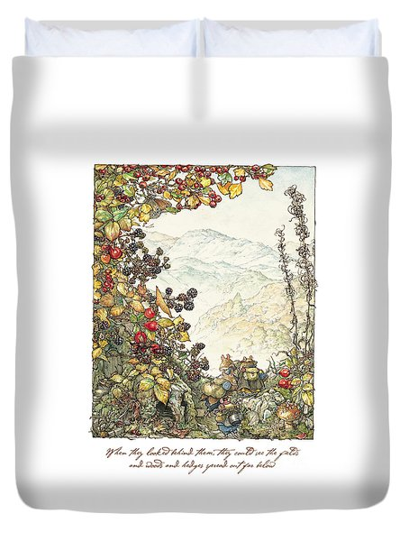 Walk To The High Hills Duvet Cover by Brambly Hedge