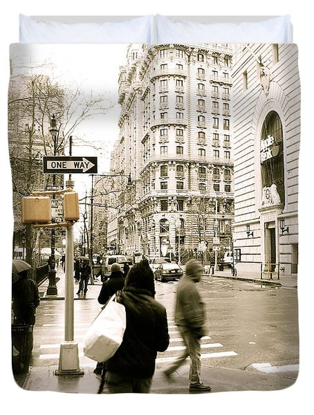 Walking New York Duvet Cover by Michael Peychich