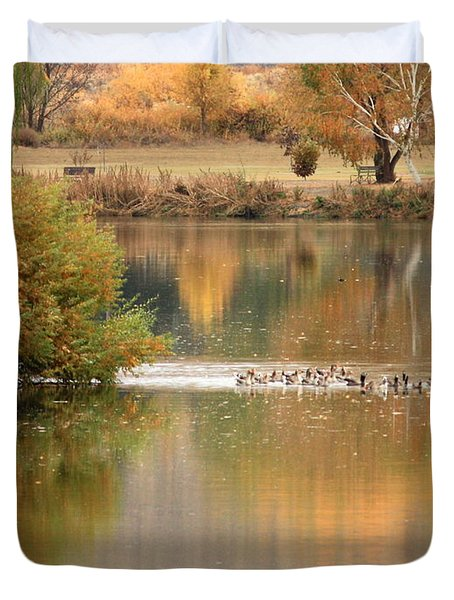 Warm Autumn River Duvet Cover by Carol Groenen