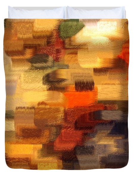 Warm Colors Abstract Duvet Cover by Carol Groenen