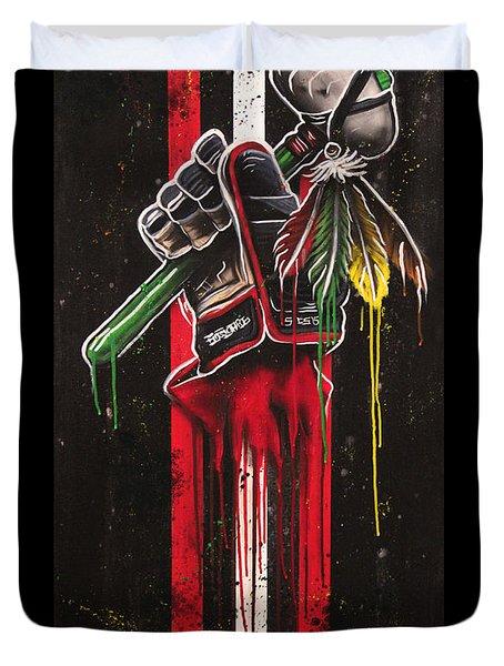 Warrior Glove On Black Duvet Cover by Michael Figueroa