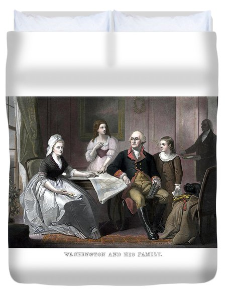 Washington And His Family Duvet Cover by War Is Hell Store