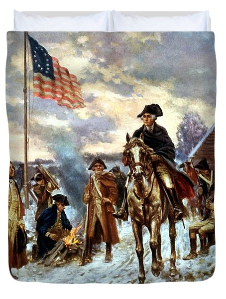 Washington At Valley Forge Duvet Cover by War Is Hell Store