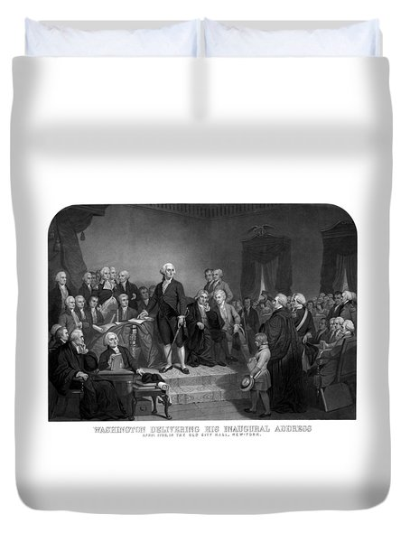 Washington Delivering His Inaugural Address Duvet Cover by War Is Hell Store